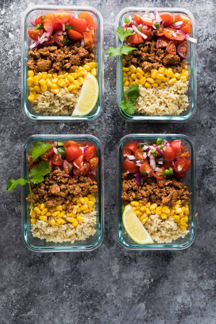 Make these turkey taco lunch bowls on the weekend and you'll have four healthy, delicious and filling lunches ready for the week!