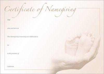 Sepia Feet Naming Certificate