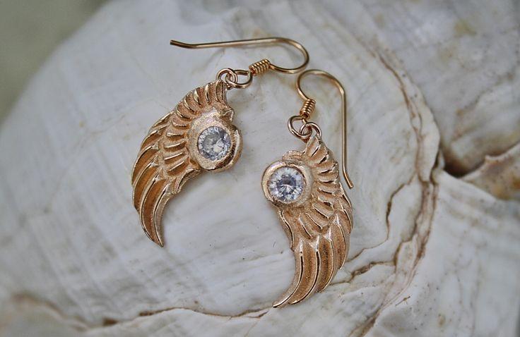 Bronze earrings with cubic zircon