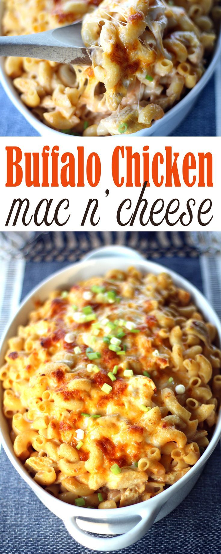 A classic dreamy-creamy mac and cheese recipe made yummier by adding grilled chopped chicken and loads of buffalo hot sauce. Buffalo Chicken Mac and Cheese. via @Buy This Cook That