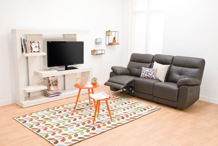 Sofá Reclinable #Toscana de 2 puestos: Presentación en color #Blanco #Gris y #Café #Break #HomeArticles #Home #HomeDesign #Chairs #Style #HomeStyle #Decoración #Couch