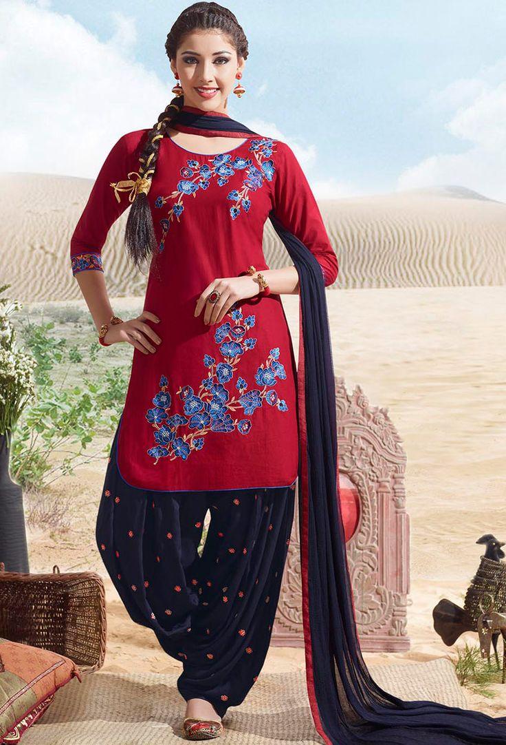 Red And Blue #Cotton #Patiala #Suit #nikvik  #usa #designer #australia #canada #freeshipping #readytoship #readytomove
