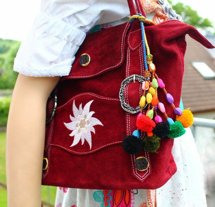 HANDTASCHE Wildleder Trachten Hosenträger Optik Damentasche ♥ in 8 Farben ♥ NEU