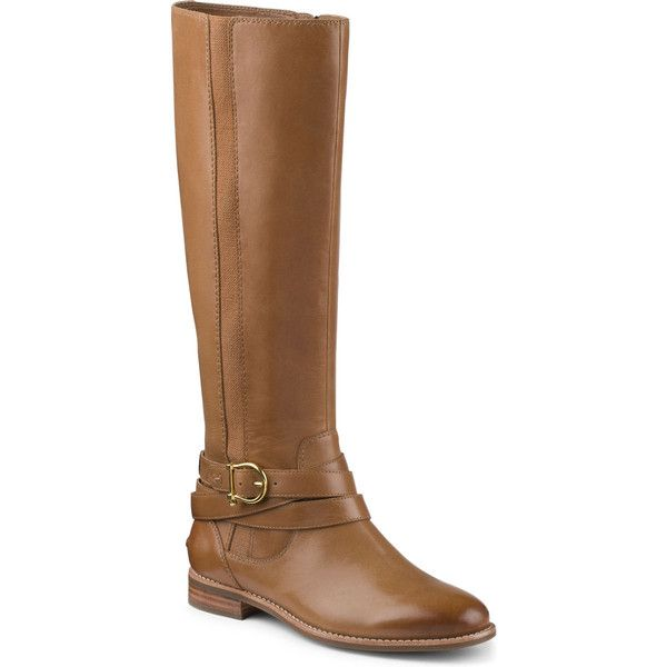 Sperry Top-Sider Cedar Boot ($125) ❤ liked on Polyvore featuring shoes, boots, botas, cognac, knee-high boots, real leather boots, knee high leather boots, leather boots, zip boots and high boots