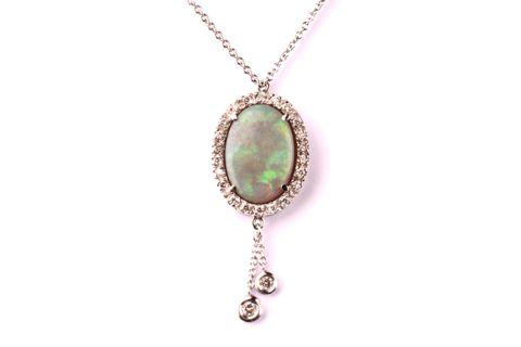 White Opal Pendant with Diamonds White opal Diamonds Brilliant cut White gold 18 kt Check the web site Www.bangslove.com