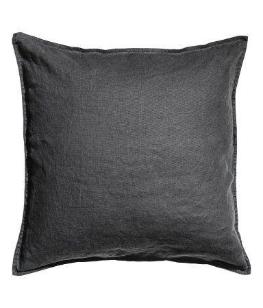 Cushion cover in washed linen with concealed zip. Tumble drying will help keep linen soft.