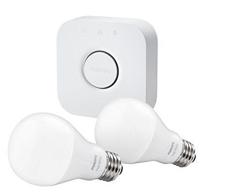 Philips Hue White A19 Starter Kit with two LED light bulbs and bridge w/ alexa #Philips