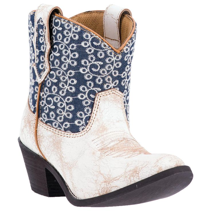 Laredo Women's Shortie White & Blue Cowgirl Boots - HeadWest Outfitters