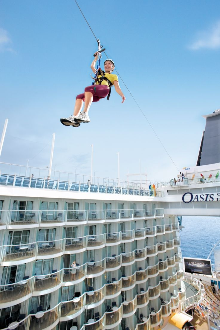 How cool! A zip line on a cruise ship! I would totally do this. | Royal Carribean's Oasis of the Seas