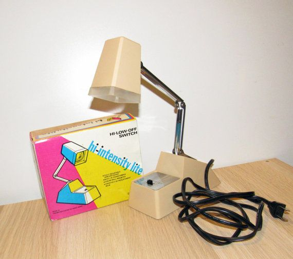 1978 Adjustable Hi Intensity Lite Beige Desk by VintageRainbowShop