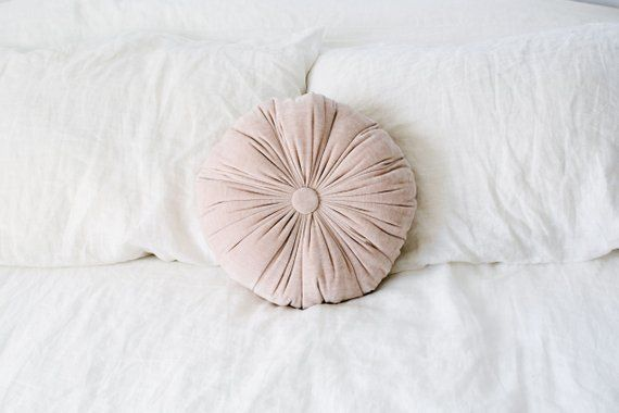Velvet Pillow Pink Velvet Circle Throw Pillow Decorative Pleated Pillow Soft Tufted Bed Throw Throw Pillows Velvet Pillows Tufted Bed