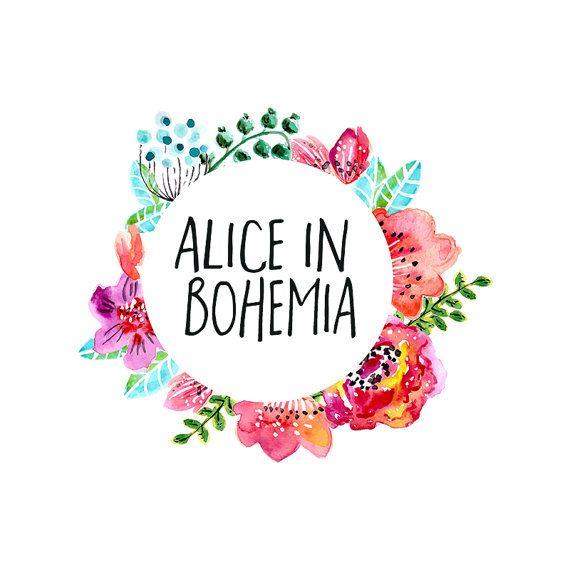 Bohemian Flowers Logo Design , Bright Flowers, Colorful flowers , Circle Logo…