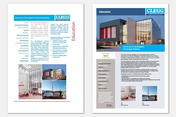 Two day brief to update and modernise Cleggs project data sheet – Project Sheet Template