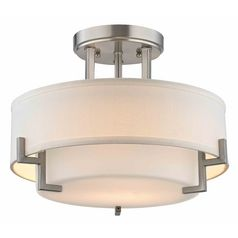 Modern Ceiling Light with White Glass in Satin Nickel Finish