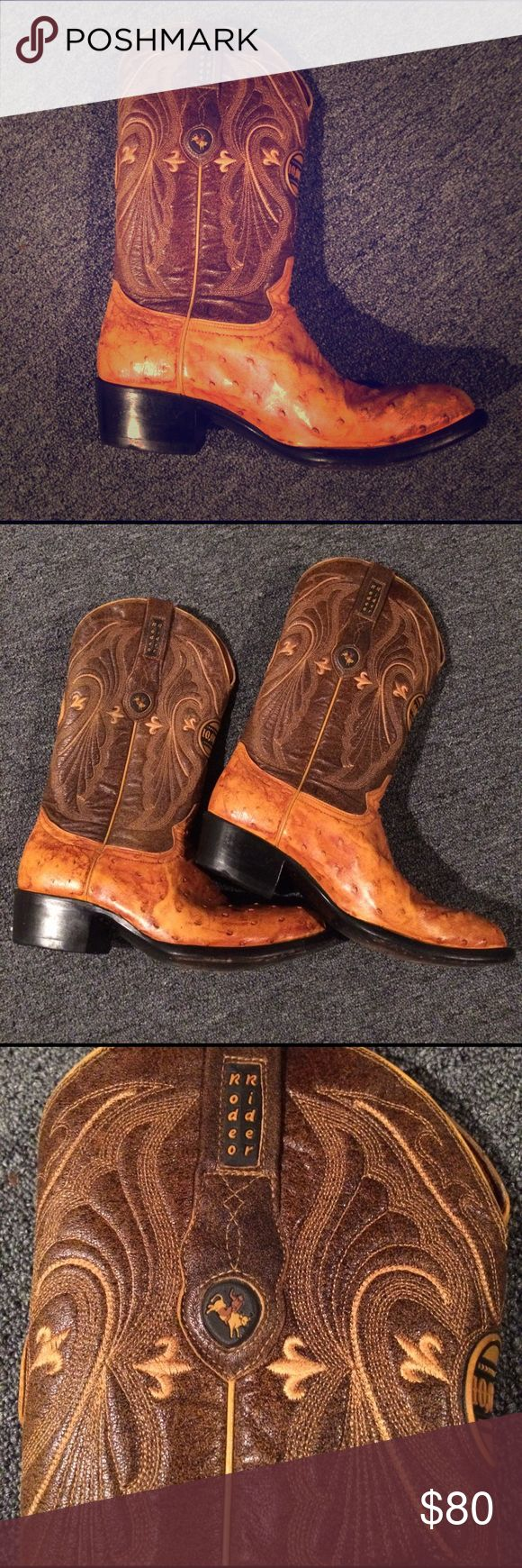 Western boots Men's Rodeo Rider Elegant leather boots with beautiful sewn pattern. Used Lots of wear left!! Great condition!! Brown light brown almost orange color. Rodeo Rider Shoes Cowboy & Western Boots