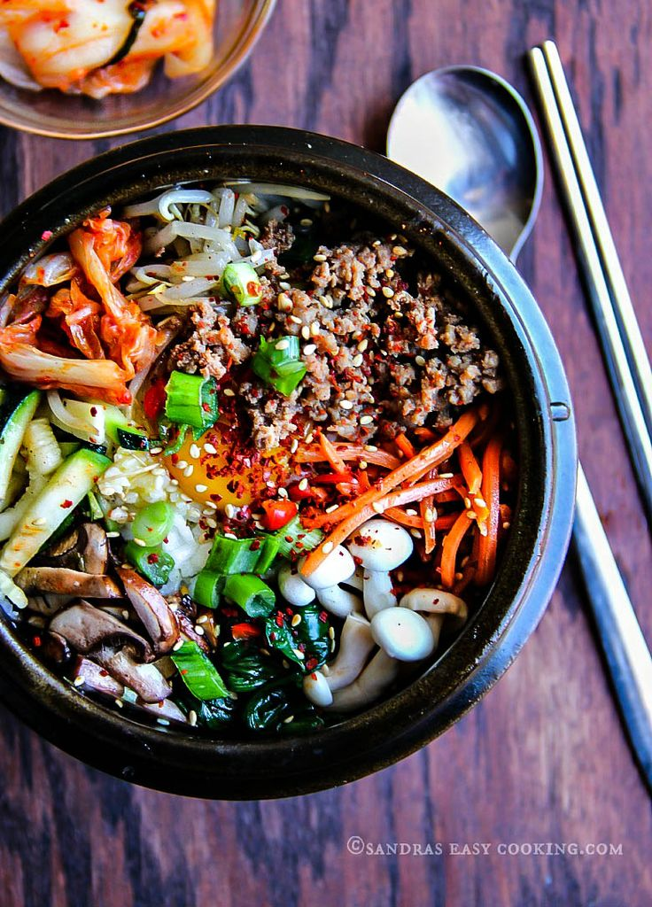 Bibimbap from 'Sandra's Easy Cooking' Site. Definitely vegetable splendour in this lovely version of a classic Korean dish.