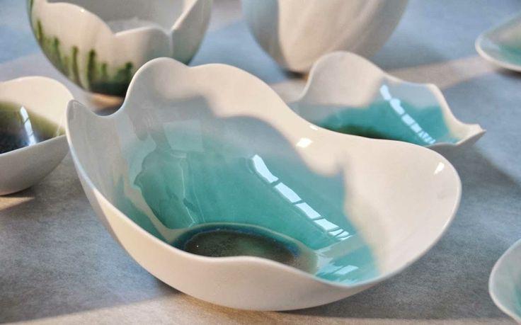 Nuage porcelaine et oxyde de cuivre DMA céramique Lycée des métiers d'art du Gué à Tresmes France