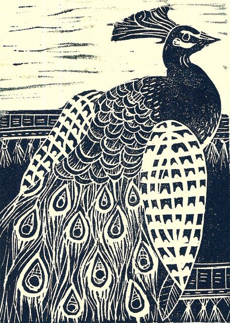 Peacock lino print by Mangle Prints, via Flickr