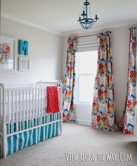baby girl nursery with diy curtains in bright graphic fabric diy crib skirt and - Blackout Shades Baby Room