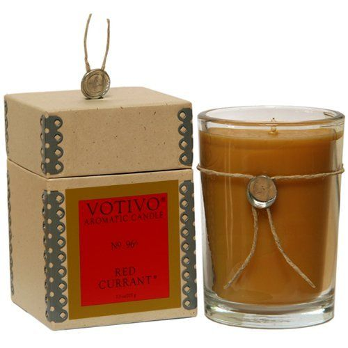 """Votivo Red Currant Glass Candle by Votivo. $22.49. Dimensions: 4"""" Tall by 2.75"""" Wide. Approximate Burn Time: 40 Hours each. Net Wt: 6.8 oz. (193g). A savory blend of tart red currants and golden fruit glaze ladled over coarsely ground vanilla bean ice cream served alongside of raspberry filled sugar cookies...the original Red Currant. Our #1 Best Selling Votivo Candle!. Save 22%!"""