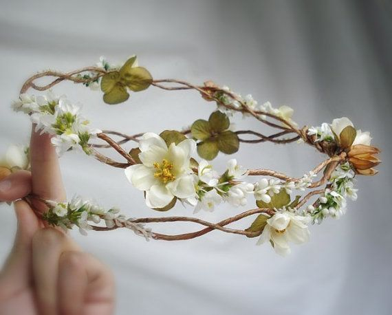 Twisted woven vine, natural dried seed pods, sweet clover, mini roses and white flower garlands