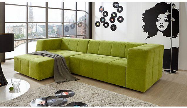 gr ne polsterecke havanna mit schlaffunktion green sofa. Black Bedroom Furniture Sets. Home Design Ideas