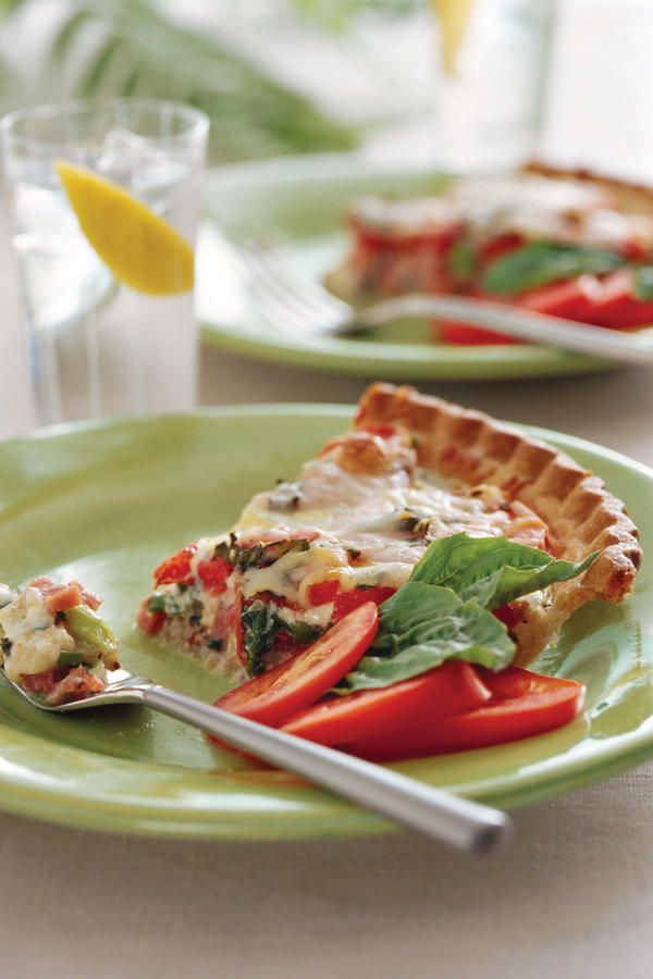 Ham-and-Tomato Pie - 68 Ways with Farm-Fresh Eggs - Southernliving. Recipe: Ham-and-Tomato Pie  This quiche-like pie uses two of summer's showstoppers— tomatoes and basil–mixed with gooey mozzarella, and egg for a combination of savory and sweet. This dish is perfect for an afternoon brunch or lunch outdoors.