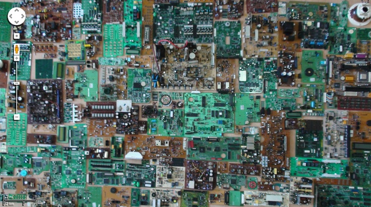 """Saatchi Online Artist: Alex Nifco; Found Objects, 2011, Assemblage / Collage """"Aerial view of Circuit City"""""""