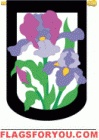 applique Iris Garden Flag - 2 left