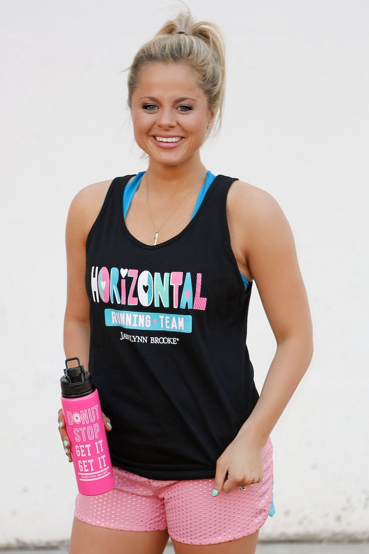 """NEW! """"Horizontal Running Team"""" - Super soft and super light-weight workout tank from our new JLB Fit Collection! Get yours online at WWW.JADELYNNBROOKE.COM"""