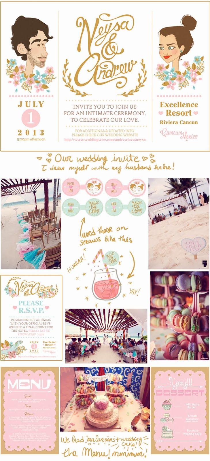 DIY wedding, custom wedding illustration wedding invite I designed for our wedding :) a very whimsical wedding in cancun