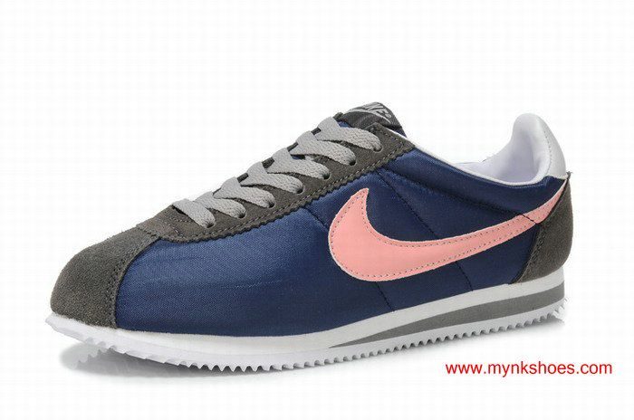 Nike Classic Cortez Womens Grey/Dark-blue/Pink Shoes