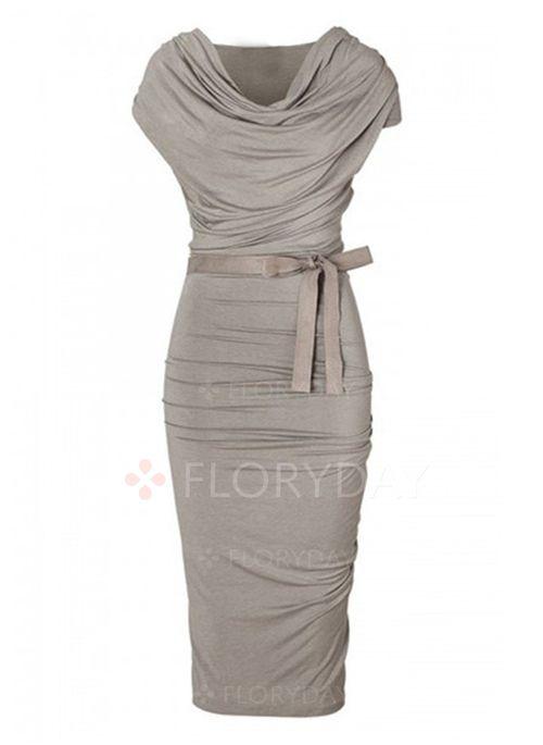Kjoler - $40.99 - Polyester Solid Kort ærme Knælængde Vintage Kjoler (1955120489)