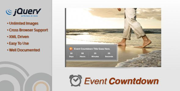 Event Countdown . Countdown to an event with a photo image gallery that highlights the event. Easy to integrate jQuery plug-in. Images and gallery information added through the xml. Describe the event in detail with customizable header and description text. When the countdown is complete, reveal a custom message.