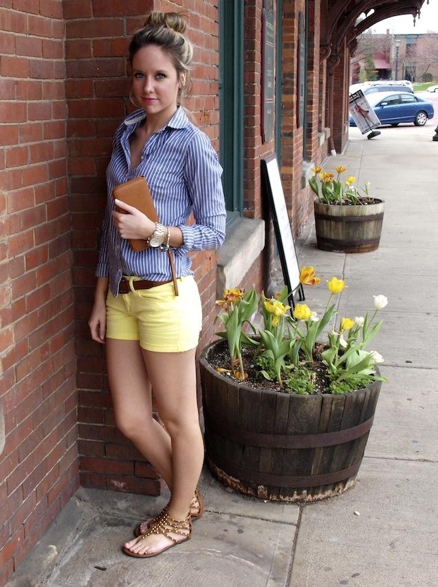 Fashionably Kay yellow shorts blue shorts sandals