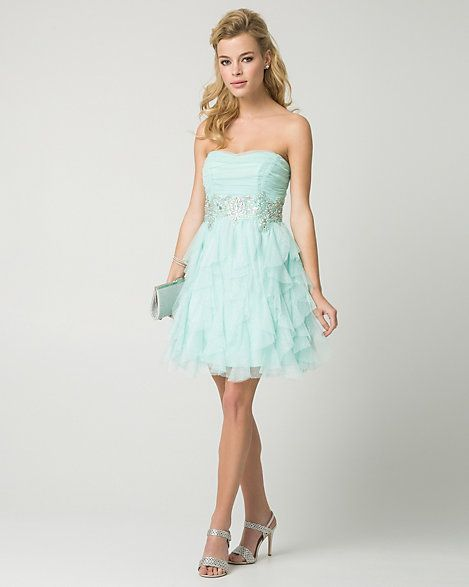 Sparkle Mesh Strapless Party Dress - Sparkling jewels at the waist punctuate the whimsical fit & flare silhouette while a cascading ruffle skirt lends a party-perfect look.