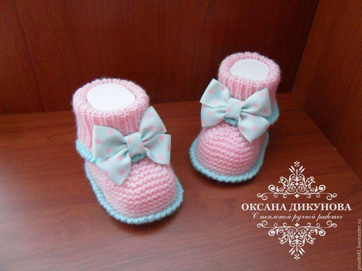 Купить Комплект для девочки - бледно-розовый, мятный, розово-мятный, комплект вязаный, комплект для девочки