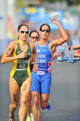 Great Britains' Helen Jenkins and Erin Densham from Australia previous to ITU  San Diego