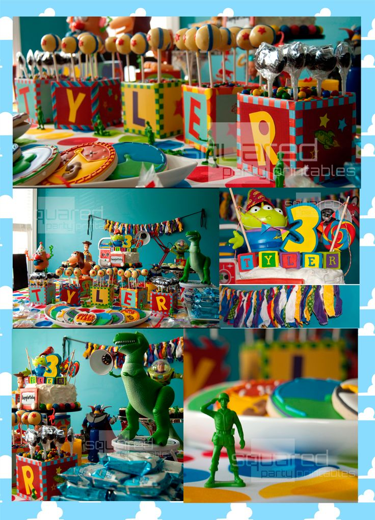 toy story decoracion colorida con cubos
