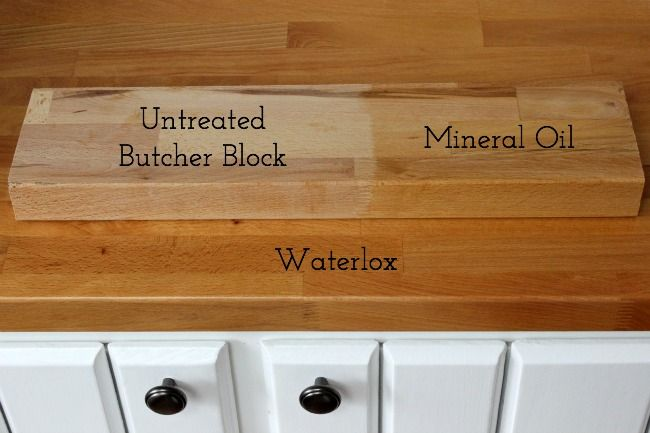 Comparing butcher block treated with mineral oil versus Waterlox. Photo via Driven by Decor.