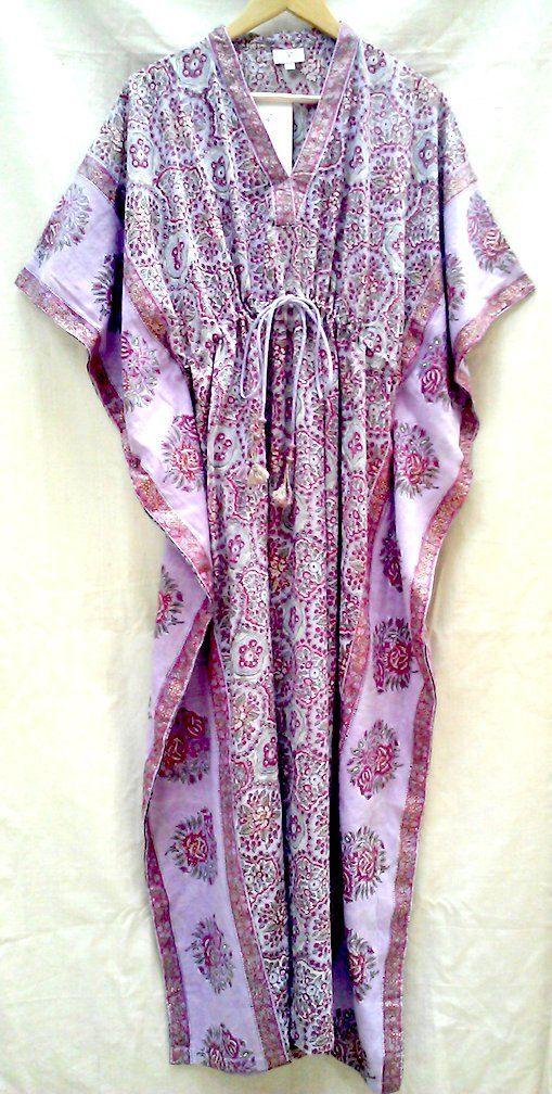 Anokhi Lavender & Pink Gilt Flower block print Indian Cotton Long Kaftan Tunic top with Silk cord Free size