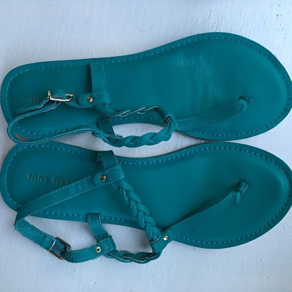 Nine West teal sandals Rich turquoise sandals by Nine West - some wear ( shown in pics) but not evident when worn at all- Nine West Shoes Sandals