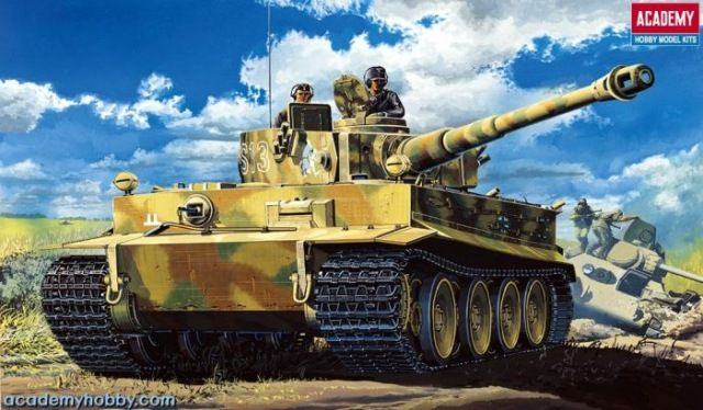 Pz.Kpfw.VI Tiger I, Early version with interior. Academy, 1/35, injection, No.13239. Price: 32,40 GBP.