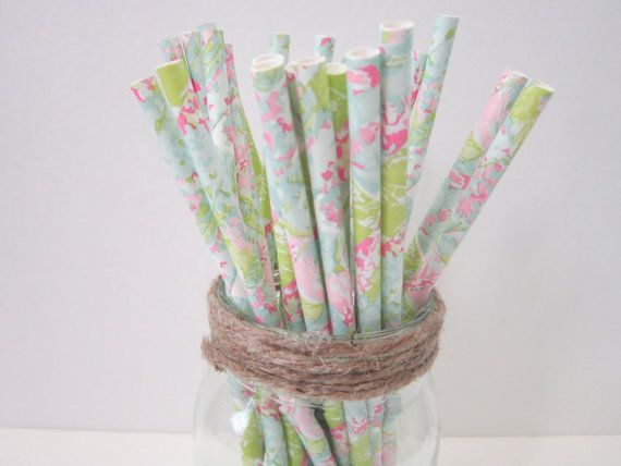 Watercolor Floral Paper Party Drinking Straws ~ Wedding ~ Shower ~ Tea Party ~ Set of 25
