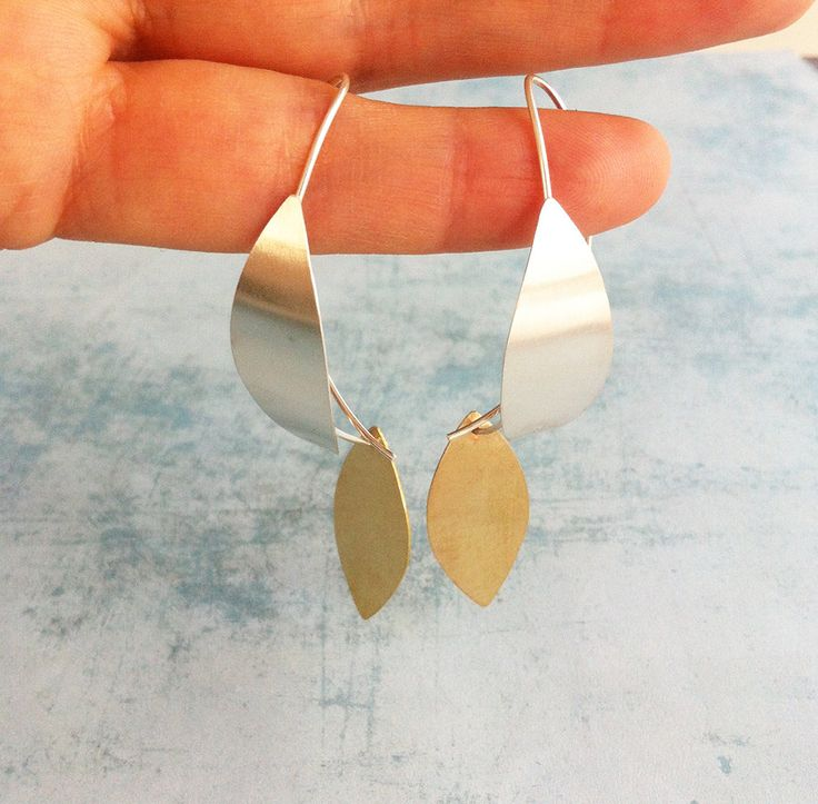 Sterling silver hoop earrings ref.10216BAM4GP - Silver and brass earrings - contemporary jewelry - leaf shape - hook pending- boho jewelry - pinned by pin4etsy.com