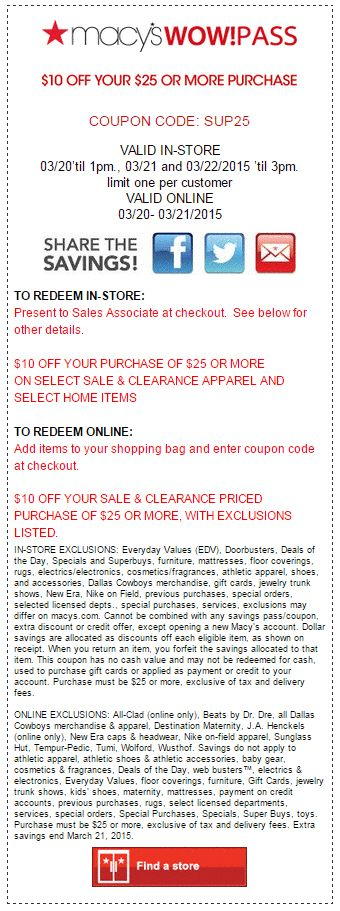 Macys Printable Coupons    10 Off  25  Select Sale   Clearance Apparel And  Select Home. 46 best Kohls 30 Off Coupon Code images on Pinterest   Coupon