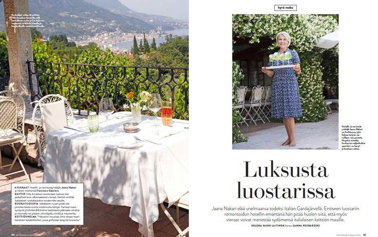 (1) Avotakka 8/2015 | Luksusta luostarissa | Villa Arcadio | toimittaja Helena Saine-Laitinen ja kuvaaja Sanna Peurakoski  #villaarcadio #luxus #hotel #gardalake #vacation