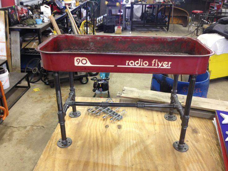 Radio Flyer wagon table Black pipe Diamond plate