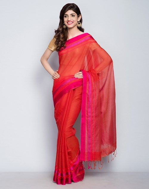 Buy Fabindia Rust Silk Cotton Thread Zig Border Sari online - Fabindia.com