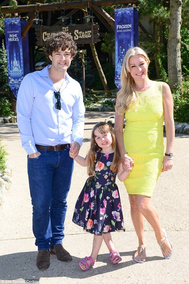 Family portrait: Denise Van Outen and her ex husband Lee Mead reunite for a day out in Dis...